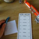 menuplan und einkaufsliste